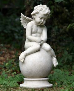 Image detail for -Garden Angel Cherub Seated On Ball - Garden Ornaments Direct