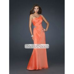 A-line One shoulder with Beadings Chiffon Floor Length Prom Dress PD33870 at belloprom.com