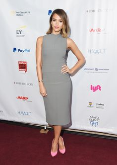 Who: Jessica Alba When: 6/10/2015 Why: Like Gwyn, Alba is rocking a simple, form fitting dress. I love a lady who loves a shoe and these pink pumps make this look.   - ELLE.com
