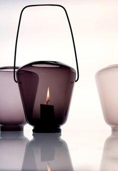 Lantern / Lanterne, Lyhty - By Katriina Nuutinen Glass / Glas Dusty Purple Verre Design, Glass Design, Design Light, Lighting Design, Light Table, Lamp Light, How To Make Lanterns, Blog Deco, Candle Lanterns