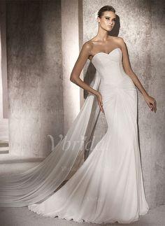 Robes de mariée - $143.37 - Forme Sirène/Trompette Sans bretelles Bustier en coeur Traîne watteau Mousseline Robe de mariée avec Plissé (00205002020)