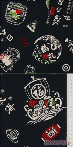 "navy blue canvas fabric with cranes, mountains, Kanji etc., Material: 80% cotton, 20% linen, Fabric Type: smooth canvas fabric, Pattern Repeat: ca. 63.3cm (24.9"") #Canvas #Letters #Numbers #Words #JapaneseFabrics"