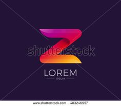 Z Alphabet letter logo. Abstract Glossy Colorful logotype vector design template.