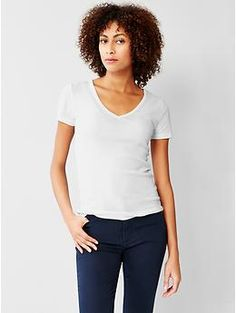 i can't have enough of these! so 90s!  New modern V-neck tee - Extra soft and comfy cotton-modal blend that drapes perfectly; this slimming new modern tee will be your new staple.