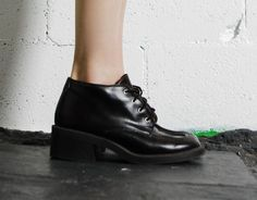 Vintage 90s Vegan Faux Leather LACEUP Chunky HEELS by HelloSidney