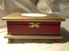 Wood Crafts- Beautiful red and gold  box by Enchanted Giftss  on Etsy- sold.