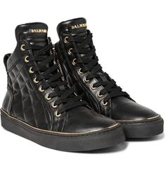 BALMAIN Quilted Leather High-Top Sneakers