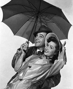 "Gene Kelly and Debbie Reynolds publicity still for MGM's 1952 film ""Singin' in the Rain""."