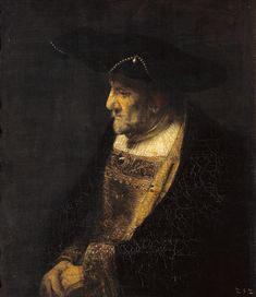 Rembrandt van Rijn - Portrait of a man with pearls at the hat.