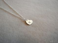 Tiny Sterling silver Heartbeat necklace by 3CSC on Etsy, $14.99