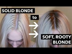 Dark Roots Blonde Highlights Fresh Diy Root Smudge Shadow Root soften Roots On solid Blonde Видео Blonde Hair With Roots, Bleach Blonde Hair, Brown Blonde Hair, Platinum Blonde Hair, Root Smudge Blonde, Shadow Root Blonde, Silver Grey Hair Dye, Julianne Hough, Hair Shadow