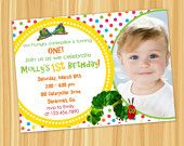 Custom Printable Rainbow Dots The VERY HUNGRY CATERPILLAR Birthday Party Invitation with Photo