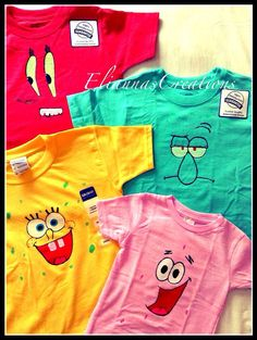 SpongeBob Hand Painted Shirt by EliannasCreations on Etsy