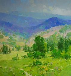 The Hill, Landscape Large Size Original oil Painting, Handmade art, One of a Kind, Signed