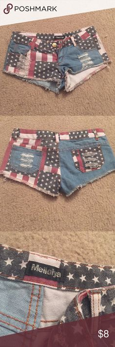 American Flag Denim Shorts No size listed, bought from a Chinese site. Fits a size 0-2 Shorts Jean Shorts