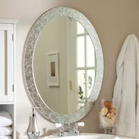 Shop Modern Round Circular Bathroom Wall Mirror with Mosaic Glass Silver Frame - On Sale - Overstock - 29084844 Bathroom Pictures, Oval Mirror, Large Decor, Amazing Bathrooms, Oval Mirror Bathroom, Vanity Wall Mirror, Bathroom Mirror Frame, Hanging Mirror, Elegant Bathroom