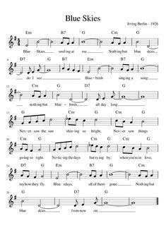 Blue Skies (Lead Sheet) sheet music for Voice download free in PDF or MIDI Free Guitar Sheet Music, Alto Sax Sheet Music, Trumpet Sheet Music, Jazz Sheet Music, Sheet Music Pdf, Easy Piano Sheet Music, Piano Music, Guitar Chords For Songs, Music Chords