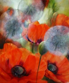 painting of poppies and dandelions