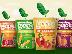 The Blooming Good Food Company is down to earth, positive and full of flavour, and has been brought to life through a bright and colourful illustrative style that clearly shows what's inside.