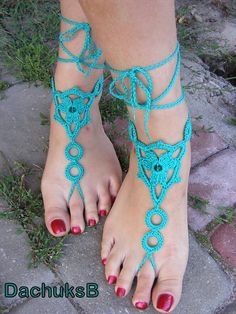 Handmade crocheted  barefoot sandals
