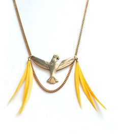 "Tropical Yellow feathers and solid gold bronze handmade parrot Necklace "" ARA "" by SAILORetIRMA, €75.00"