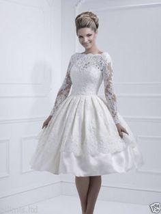 New Tea-length White Wedding Dress Lace Long sleeve Bride Gown Custom dress