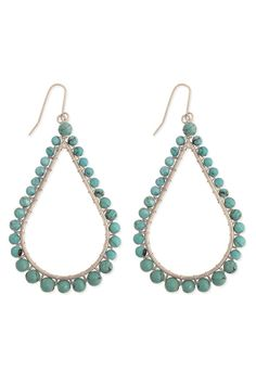 Turquoise Beaded Teardrop Earrings