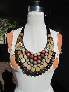 Vintage YSL African Ethnic Wood Bead Bib Necklace