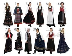 Here are some various kind of norwegian traditional costumes. It's extremely cold in here and the fashion also follow the weather: Long dress, white shirt, warm socks, boots/Norway style shoes and you may usually saw them wear with the long and textiled apron.