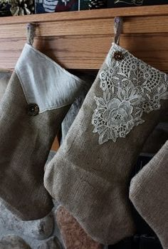 Stockings Made From Burlap, Doilies And Buttons.