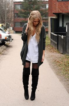Oversized Shirt+ Cardigam + Patterned Tights + Thigh high Boots