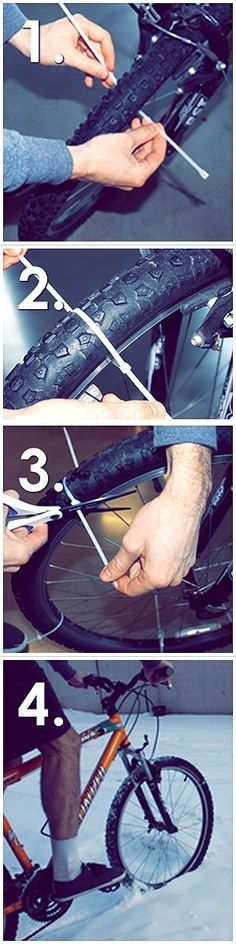 DIY Studded Snow Tires from Zip Ties - 20 Awesome Ways to Improve Your Bike Ride Pimp Your Bike, Velo Cargo, Ideias Diy, Fat Bike, Simple Life Hacks, Shed Plans, Bike Life, Good To Know, Mountain Biking