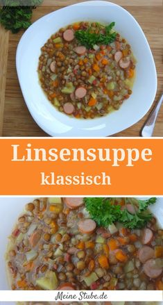 Classic lentil soup, with bacon and sausages - Meine Stube - Classic lentil sou. - Classic lentil soup, with bacon and sausages – Meine Stube – Classic lentil soup, homemade. Clean Eating Soup, Clean Eating Recipes For Dinner, Clean Eating Breakfast, Clean Eating Meal Plan, Salad Recipes For Dinner, Chicken Salad Recipes, Healthy Salad Recipes, Clean Eating Snacks, Meat Recipes