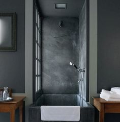 Picturesque Concrete Square Tubs With Wooden Bathroom Table Also Shower Tubs As Decorate In Neo Grey Bathroom Designs