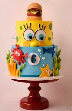 Ideas birthday cake flavors ideas parties - Ideas birthday cake flavors ideas parties Ideas birthday cake f - Fondant Cakes, Cupcake Cakes, Birthday Cake Flavors, Cake Birthday, Crazy Birthday Cakes, Diy Birthday, Spongebob Birthday Party, Crazy Cakes, Disney Cakes