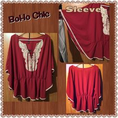 "NWT! Kimono style shirt on hold Maroon with cream lace tie up neck line and cream lace seams. Elastic waist big ""bat bell"" sleeves. Tops"