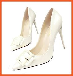 QINGYUAN Women's PU Sexy High Heels Buckle Pointed Toes Pumps US 8 White - Pumps for women (*Amazon Partner-Link)