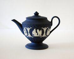 Wedgwood Portland Blue Miniature Teapot, 1970s Jasperware Pottery, Vintage Home Decor by CalloohCallay on Etsy