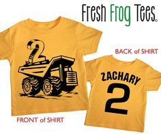 Second Birthday construction personalized dump truck Happy boys 2nd Party Gold Short Sleeve tshirt via Etsy