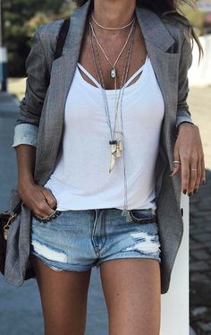 #summer #outfits Grey Blazer + White Tank + Ripped Denim Short