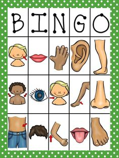 Large group activity/game: Body Parts Bingo In Spanish. Preschool Spanish, Spanish Classroom, Teaching Spanish, Teaching English, Spanish Lessons, English Lessons, Fun Games For Kids, Activities For Kids, Listening Activities