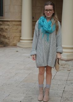 gray, oversized, glitter boots, H&M, teal, scarf, blonde, clutch.