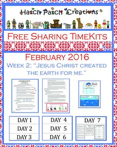 Sharing Time February week 2 2016.  Free packet.  Jesus Christ crated the earth for me.