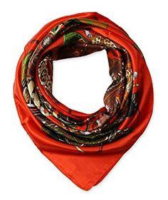 "corciova Women's Neckerchief Large Square Silk Like Scarf Headdress 35""x35"" Orange $9.99 Free Shipping"