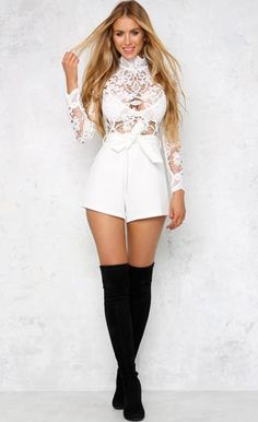7f6cfeaa44 Long Sleeve Lace Hollow Out White Sexy Playsuit - Wholesale Lingerie   Sexy  Clothes