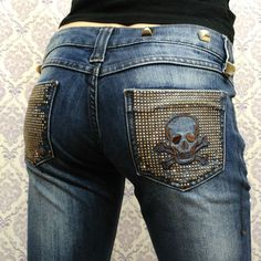 Philipp Plein Womens Skull Pocket Bling Studded Jeans Sz 27 Straight Low Rise #PhilippPlein #StraightLeg