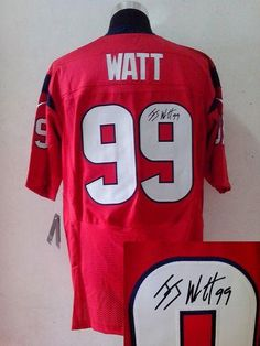 Nike Texans  99 J.J. Watt Red Alternate Men s Stitched NFL Elite  Autographed Jersey Super Bowl 79635c734