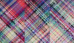 Textile art by Ingunn Birkeland Oslo -piece: One Illustration Art, Illustrations, Oslo, Textile Art, Uni, Tartan, Weave, Ribbon, Textiles