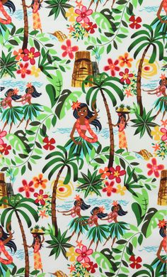 Alexander Henry Leis and Luaus Hawaiian Pal Tree Hula Girl Tropical Vintage Retro 1950 1940 1960 Floral Fabric Patterns, Print Patterns, Fun Patterns, Laminated Cotton Fabric, Tropical Fabric, Tropical Prints, Alexander Henry Fabrics, Motif Vintage, Hawaiian Art