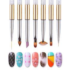 Gradient Fan Liner Uv Brush Drawing Pen Rhinestone Metal Handle Nail Art Tools